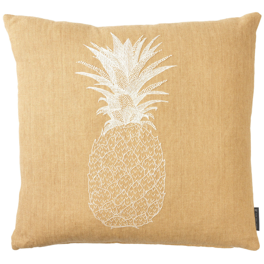 Pineapple Embroidered Cushion White on Beige Melissa Wyndham for Fine Cell Work