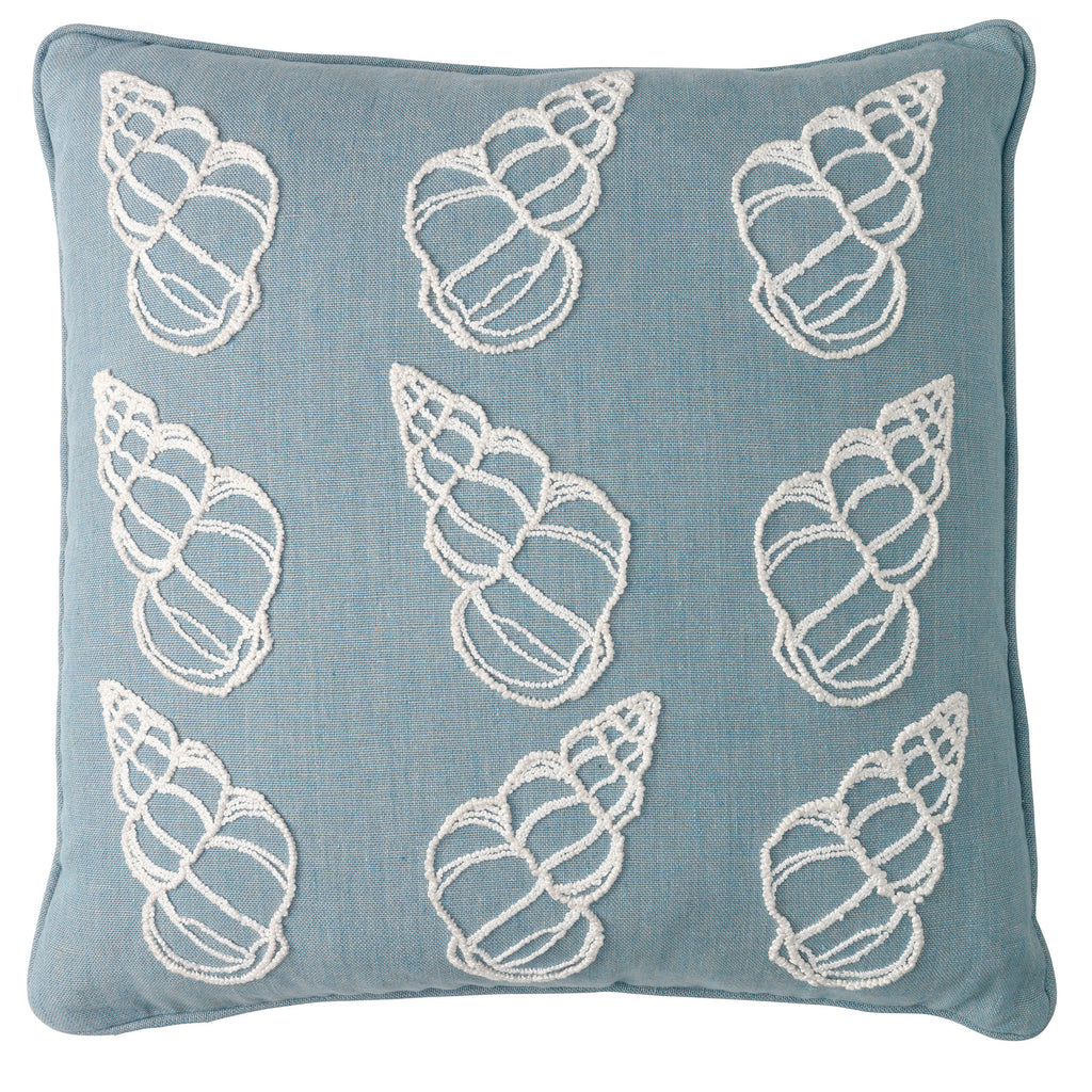 Melissa Wyndham Shell Cones Hand Embroidered Linen Cushion Pale Blue Fine Cell Work