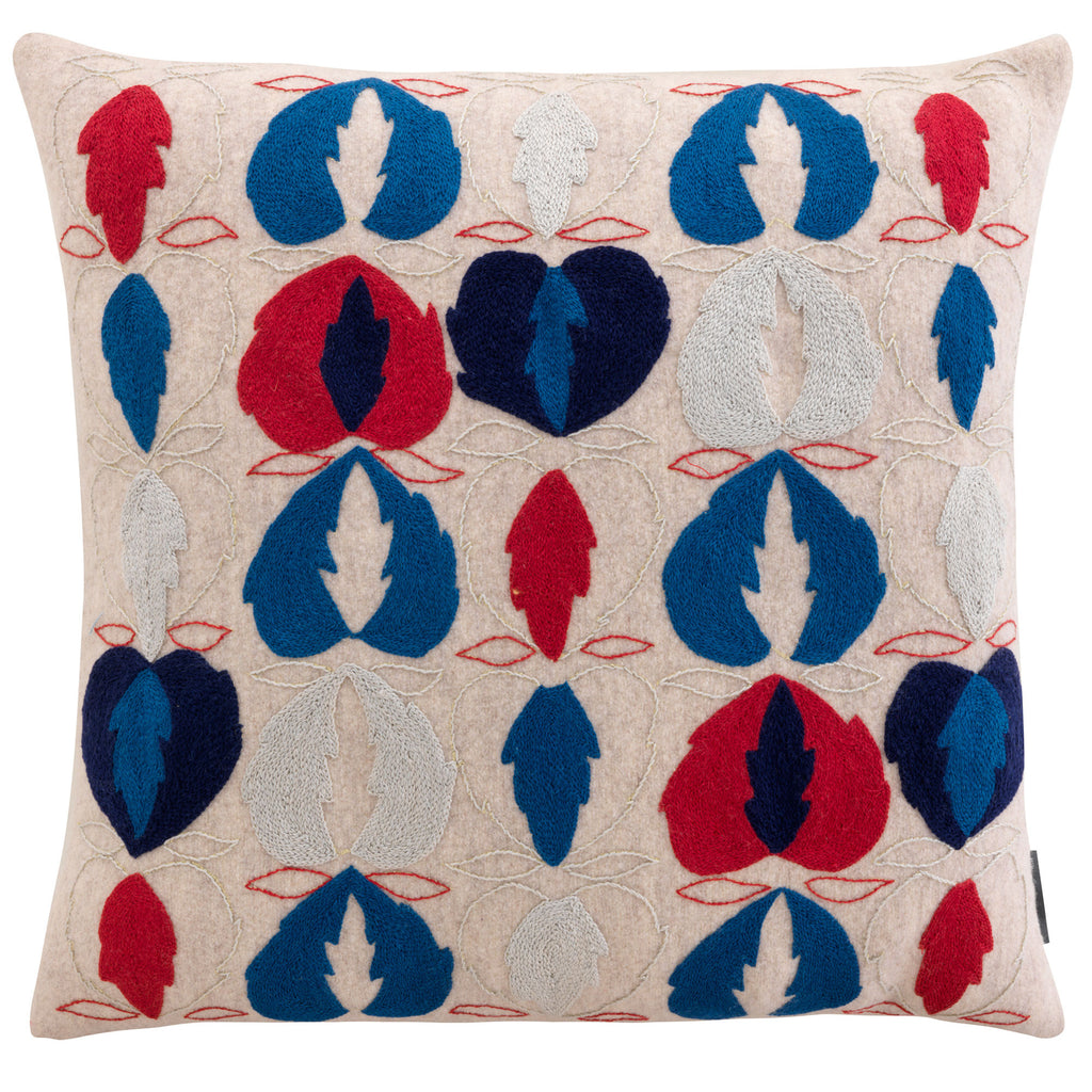 Kit Kemp for Fine Cell Work Heart of Oak Hand Embroidered Cushion Blue, Red and Cream