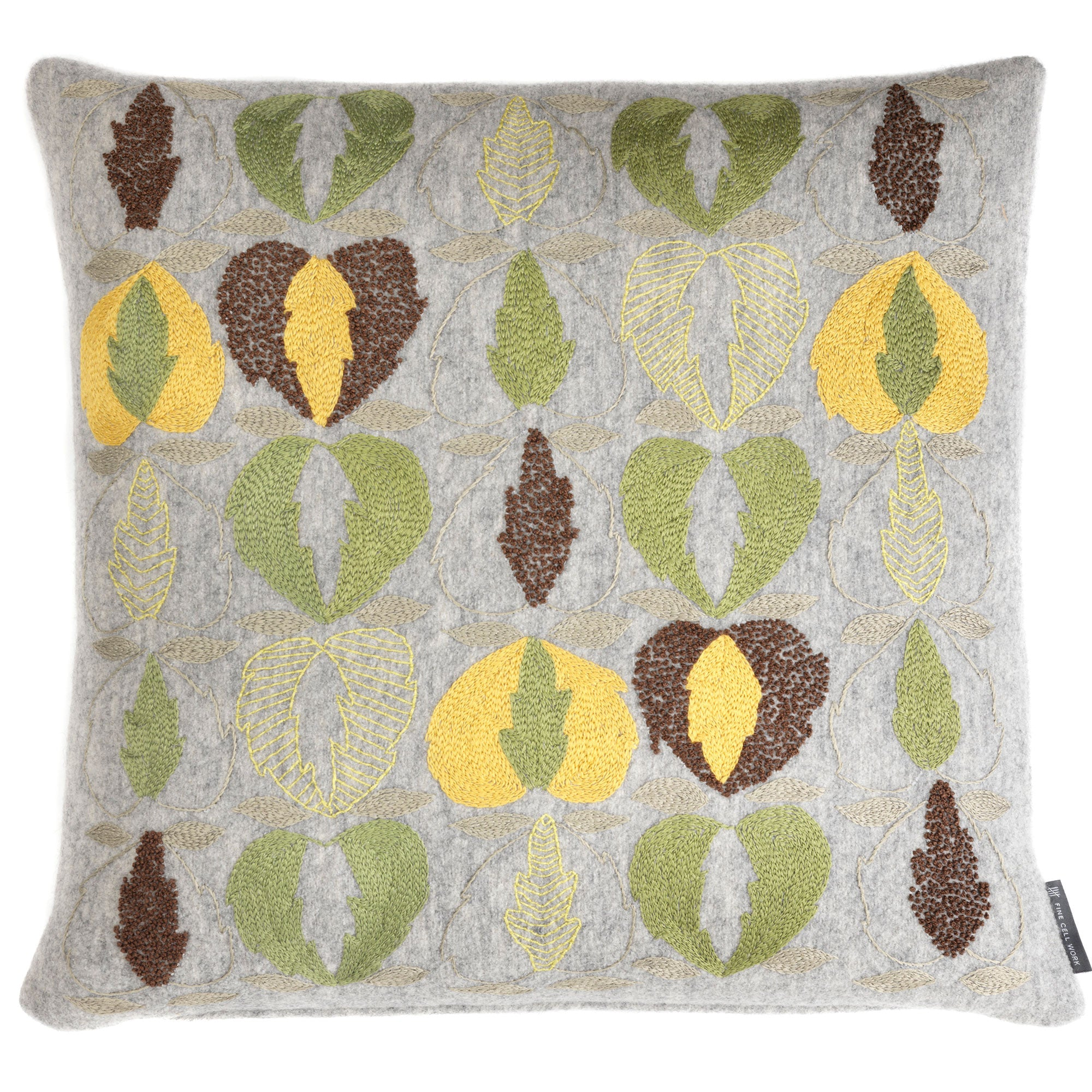 Kit Kemp for Fine Cell Work Heart of Oak Hand Embroidered Cushion Green, Brown and Grey