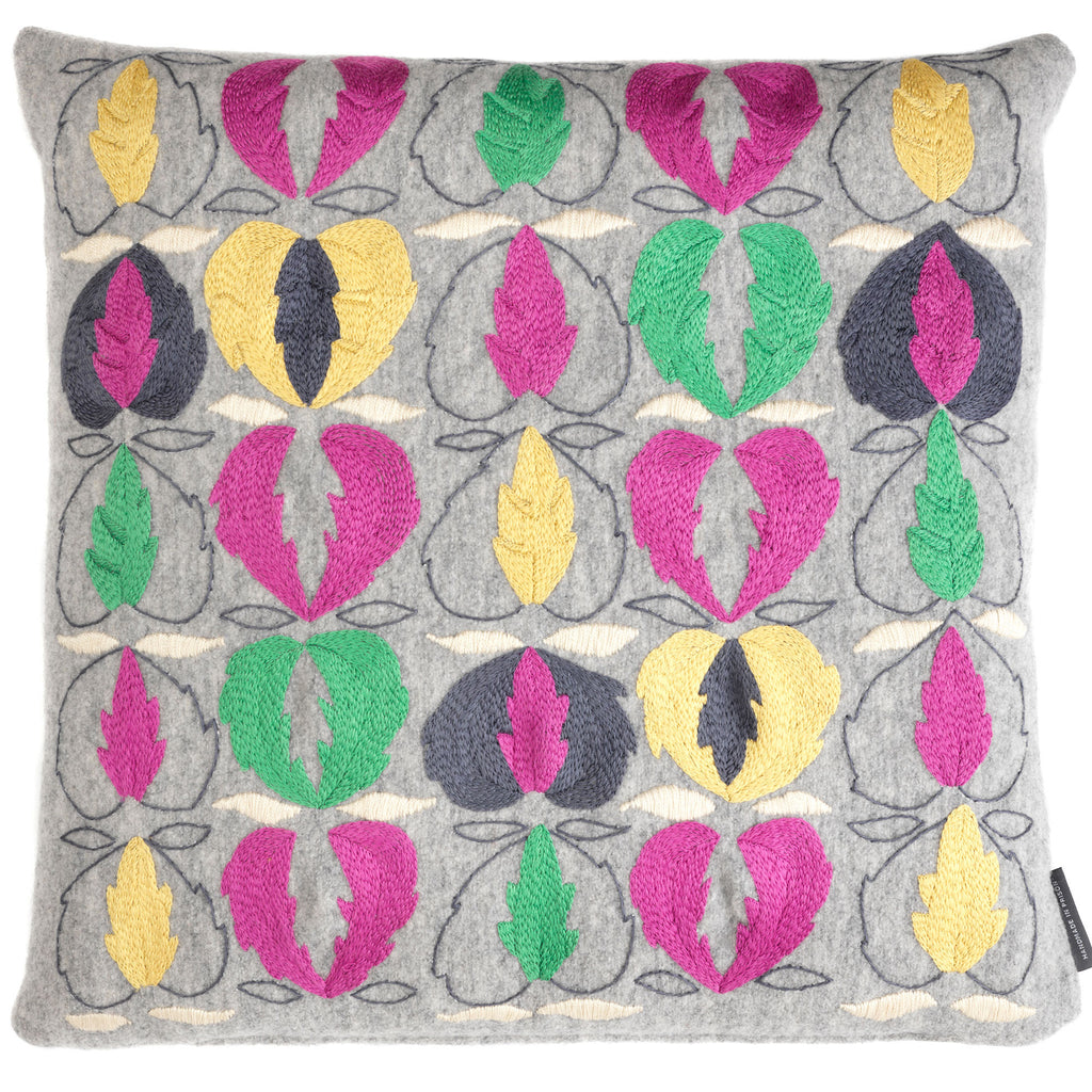 Kit Kemp Heart of Oak cushion - Pink and Green on Grey