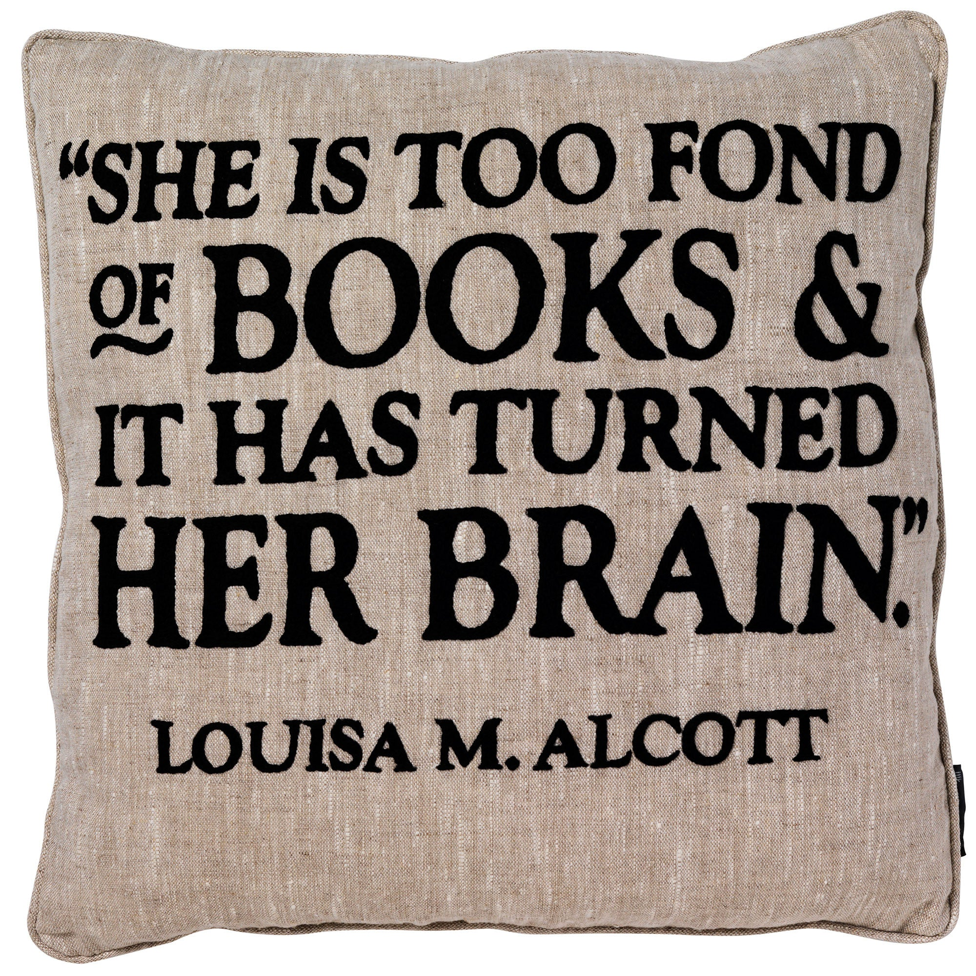 Louisa Alcott Quote Cushion Fine Cell Work