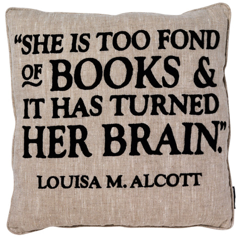 Louisa Alcott Hand-Embroidered Quote Cushion