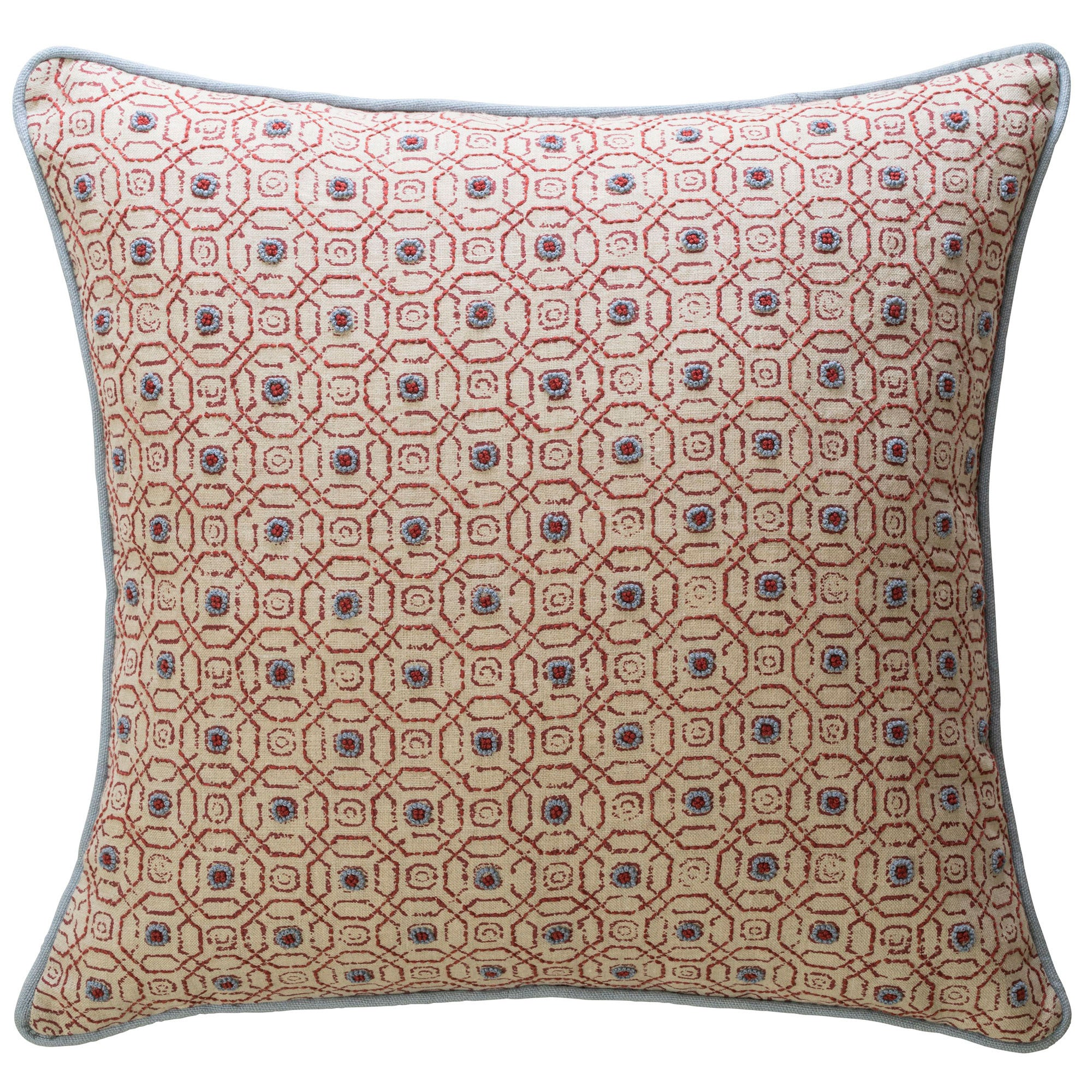 Hand-Embroidered Blithfield Stratford Red Chilli Linen Blue Cushion Fine Cell Work