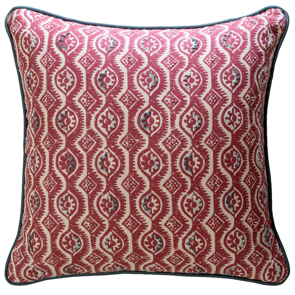 Embroidered Blithfield Peggy Angus Red Damask