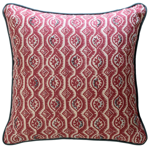 Hand-Embroidered Blithfield for Fine Cell Work Peggy Angus Red Damask Cushion
