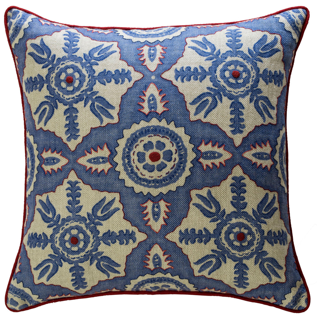 Hand-Embroidered Blithfield Kit Kemp Melissa Wyndham for Fine Cell Work Rossmore Blue Linen Cushion