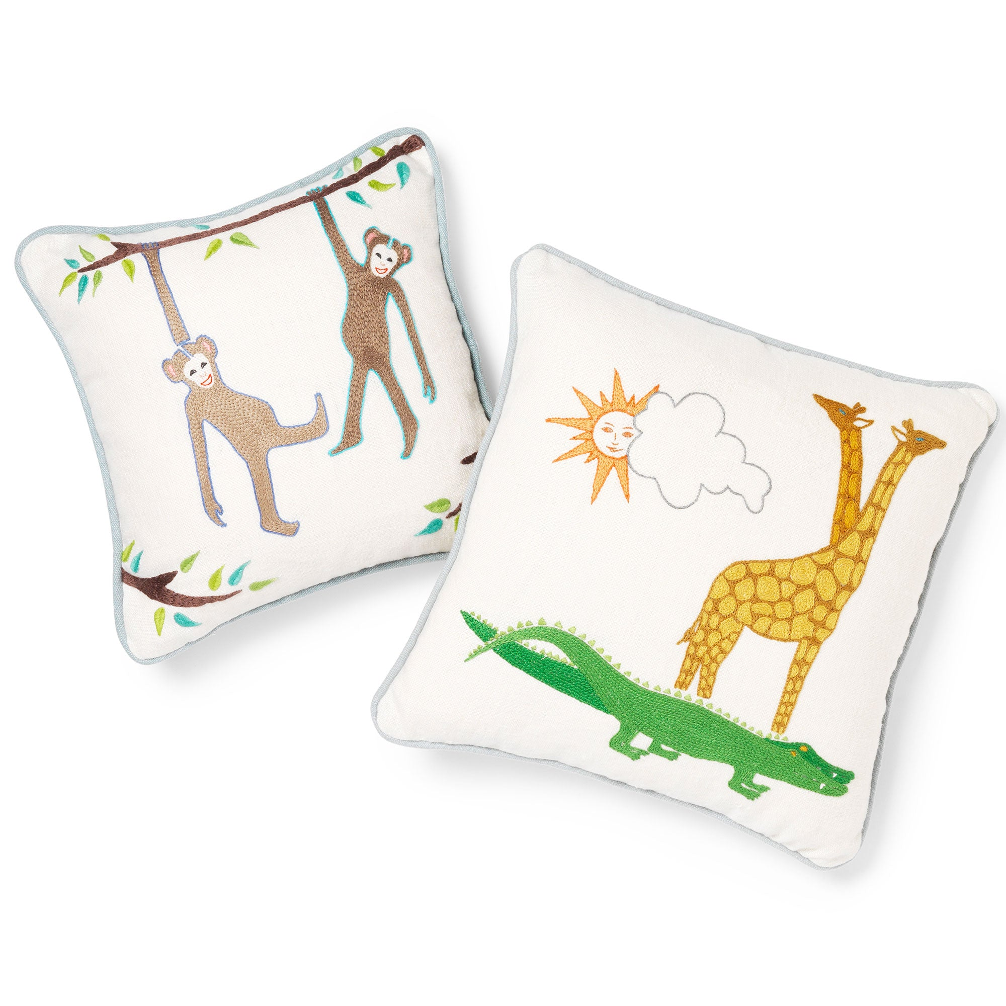 Noah's Ark Hand-Embroidered Crocodile and Giraffe Cushion Marion Rhoades for Fine Cell Work