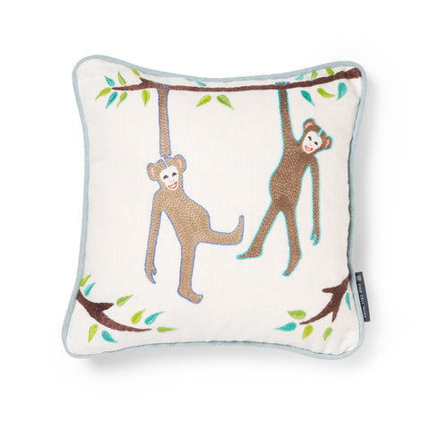 Noah's Ark Naughty Monkeys Embroidered Cushion