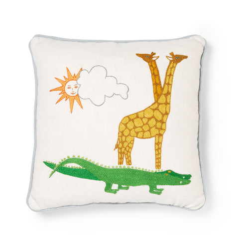Noah's Ark Crocodile and Giraffe Embroidered Cushion