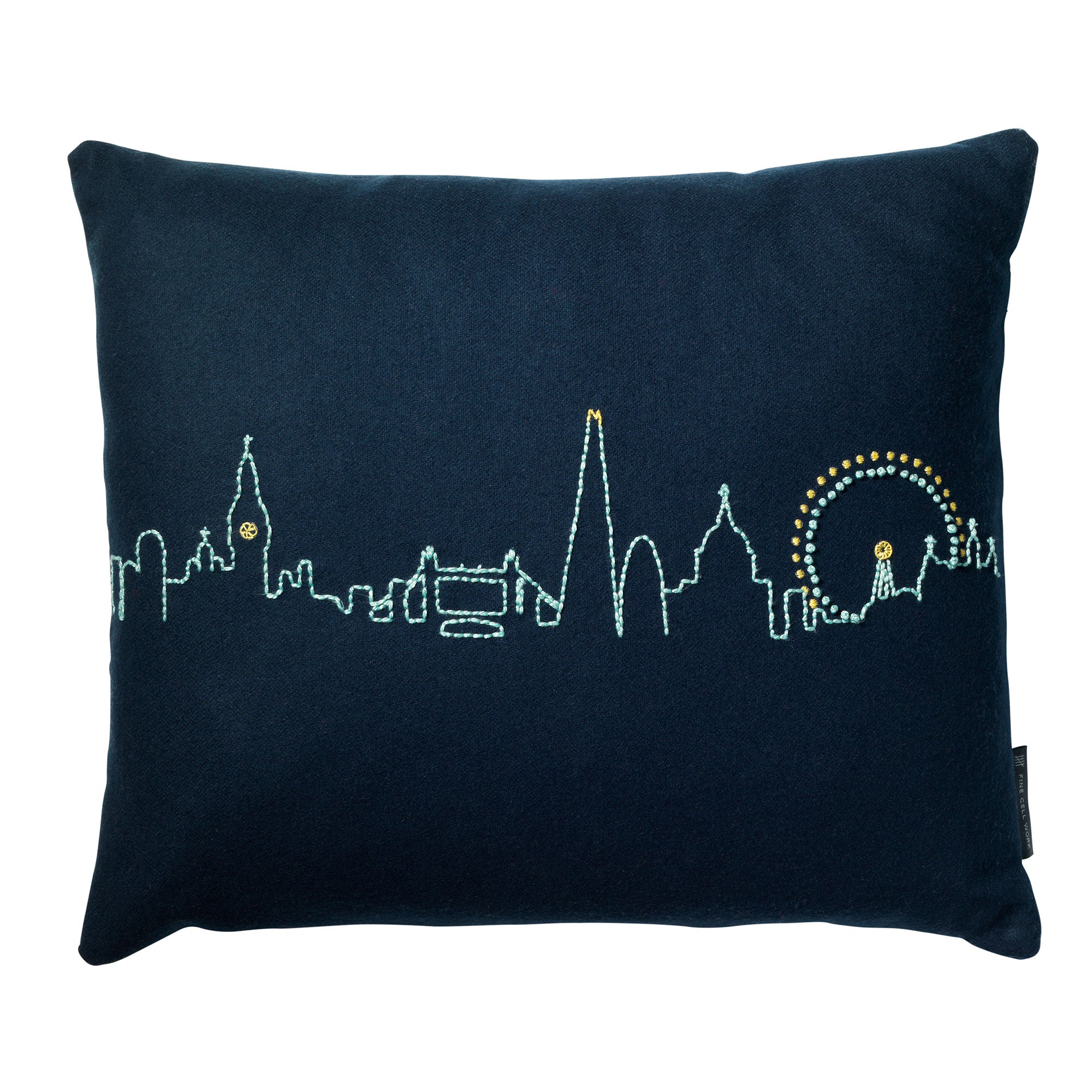 Embroidered London Skyline Cushion Blue Fine Cell Work