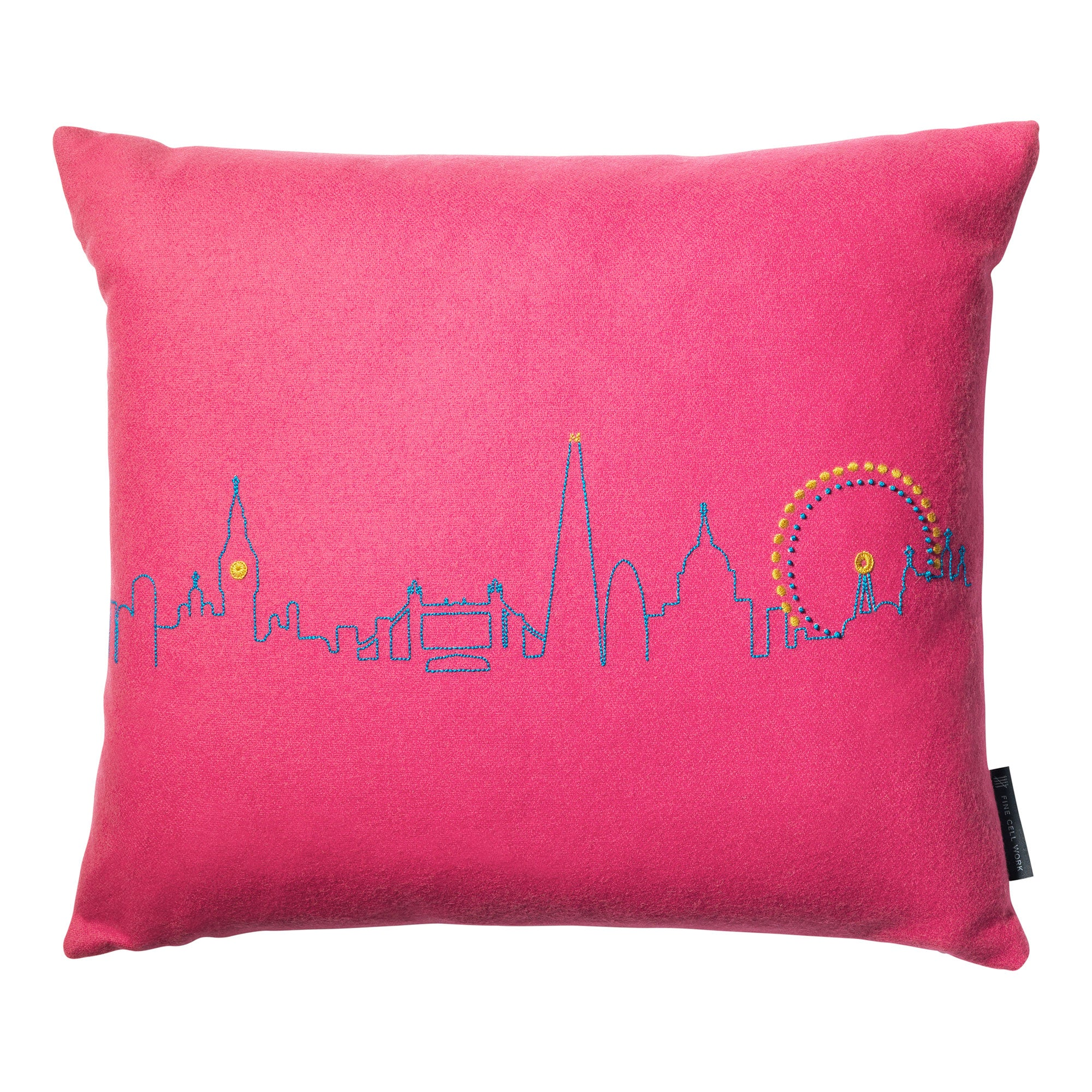 Embroidered London Skyline Cushion Pink Fine Cell Work