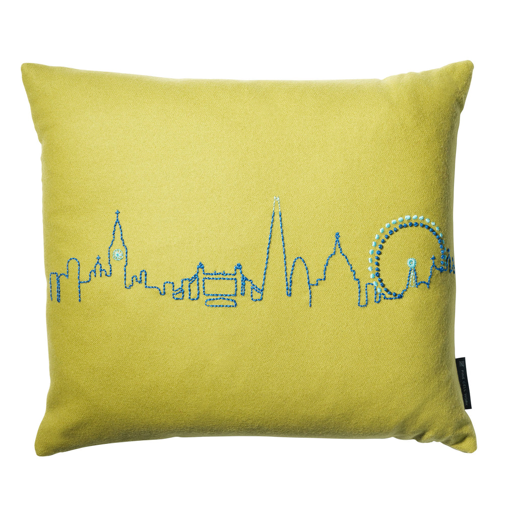 Embroidered London Skyline Cushion Green
