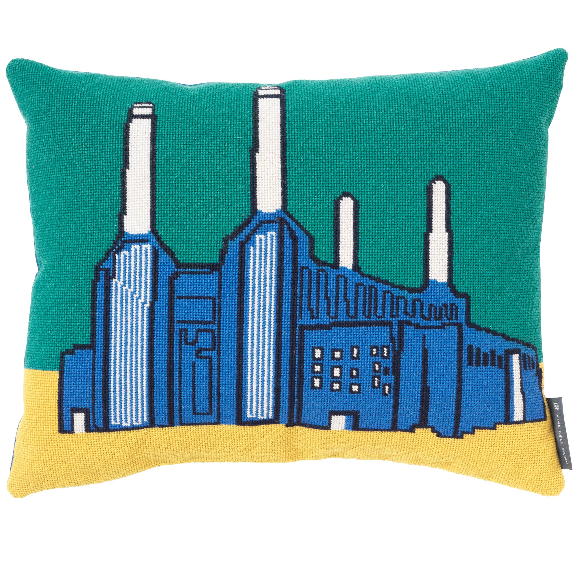 Landmarks Battersea Power Station Needlepoint Cushion Fine Cell Work