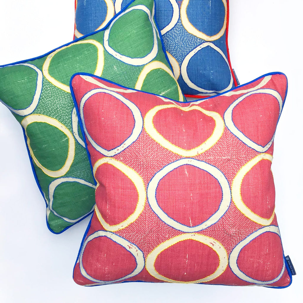 Hand-Embroidered Blithfield Circles Cushion Green