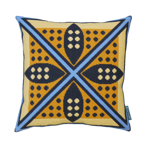 Fine Cell Work Cressida Bell Shield Wool Hand Stitched Cushion Blue Orange Yellow Black Handmade in Prison