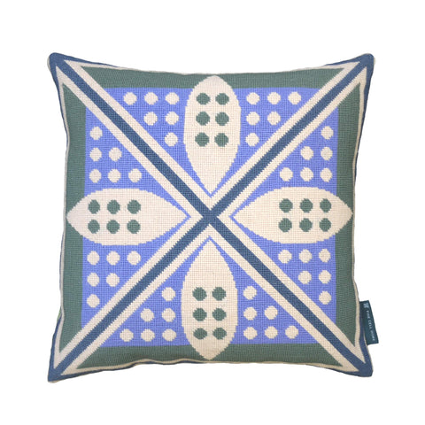 Fine Cell Work Cressida Bell Shield Wool Hand Stitched Cushion Blue and Green Handmade in Prison