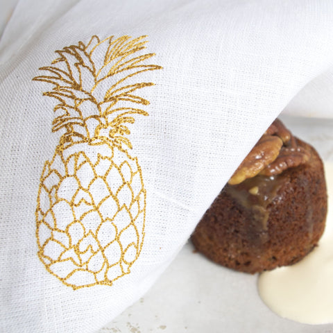Fine Cell Work Gold Embroidered Pineapple Linen Table Napkins Box Gift Set of 4