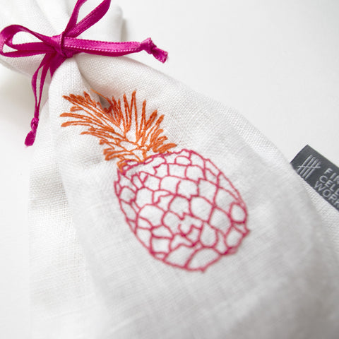 Pineapple Embroidered Lavender Bag Orange and Pink Fine Cell Work