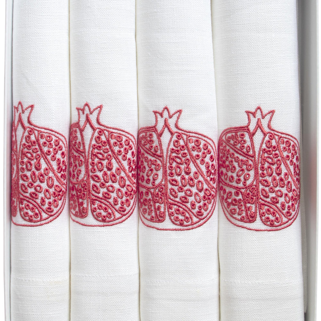 Pomegranate Embroidered Table Napkins in Linen Pink and White Box of 4 Fine Cell Work