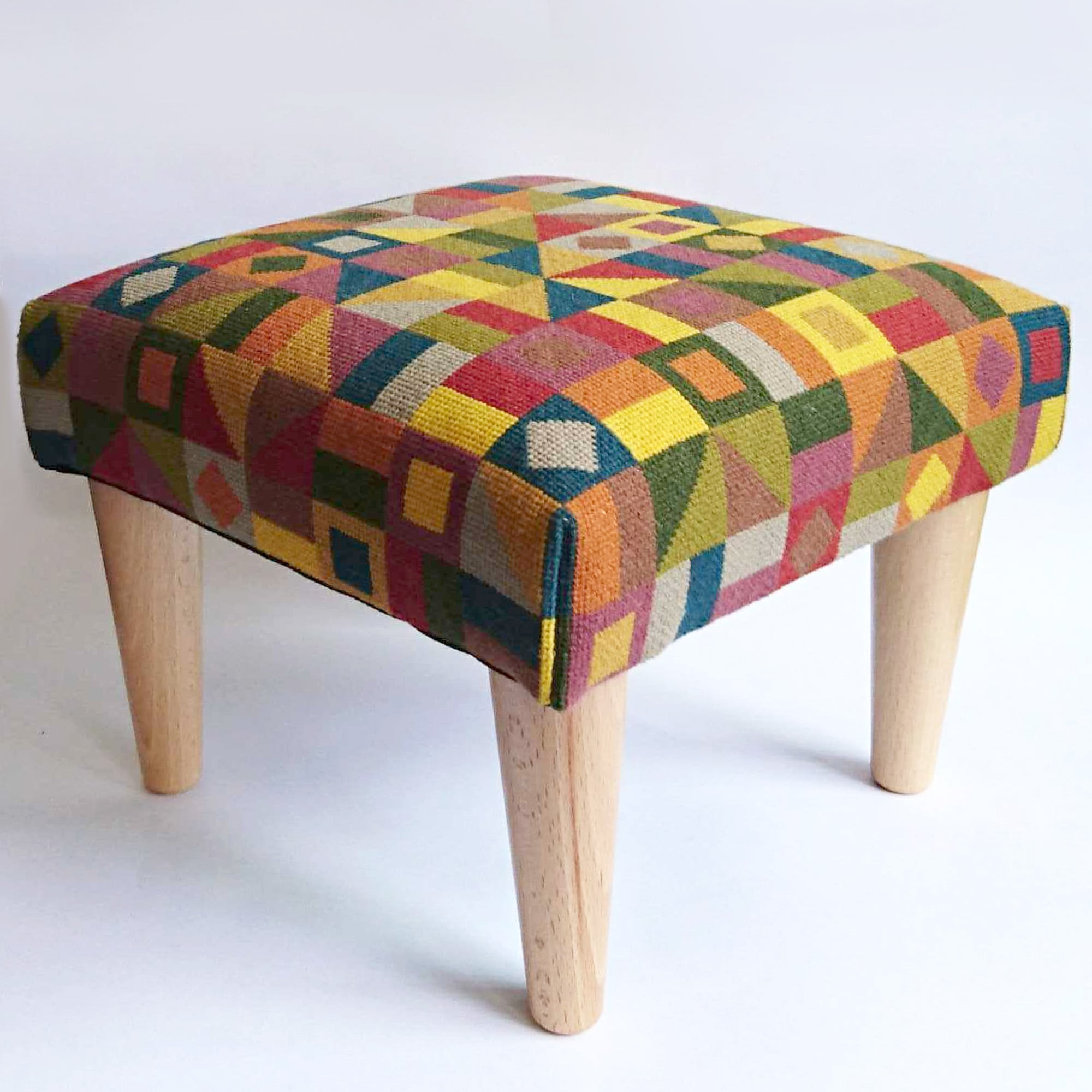 Geometric Footstool Red and Green