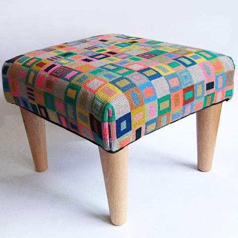 Geometric Footstool Blue and Orange