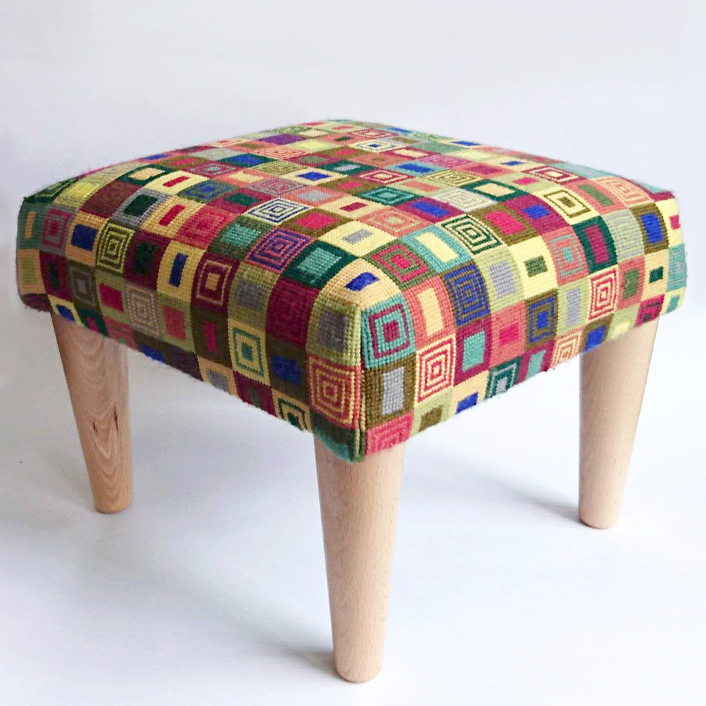 Geometric Footstool Red and Yellow