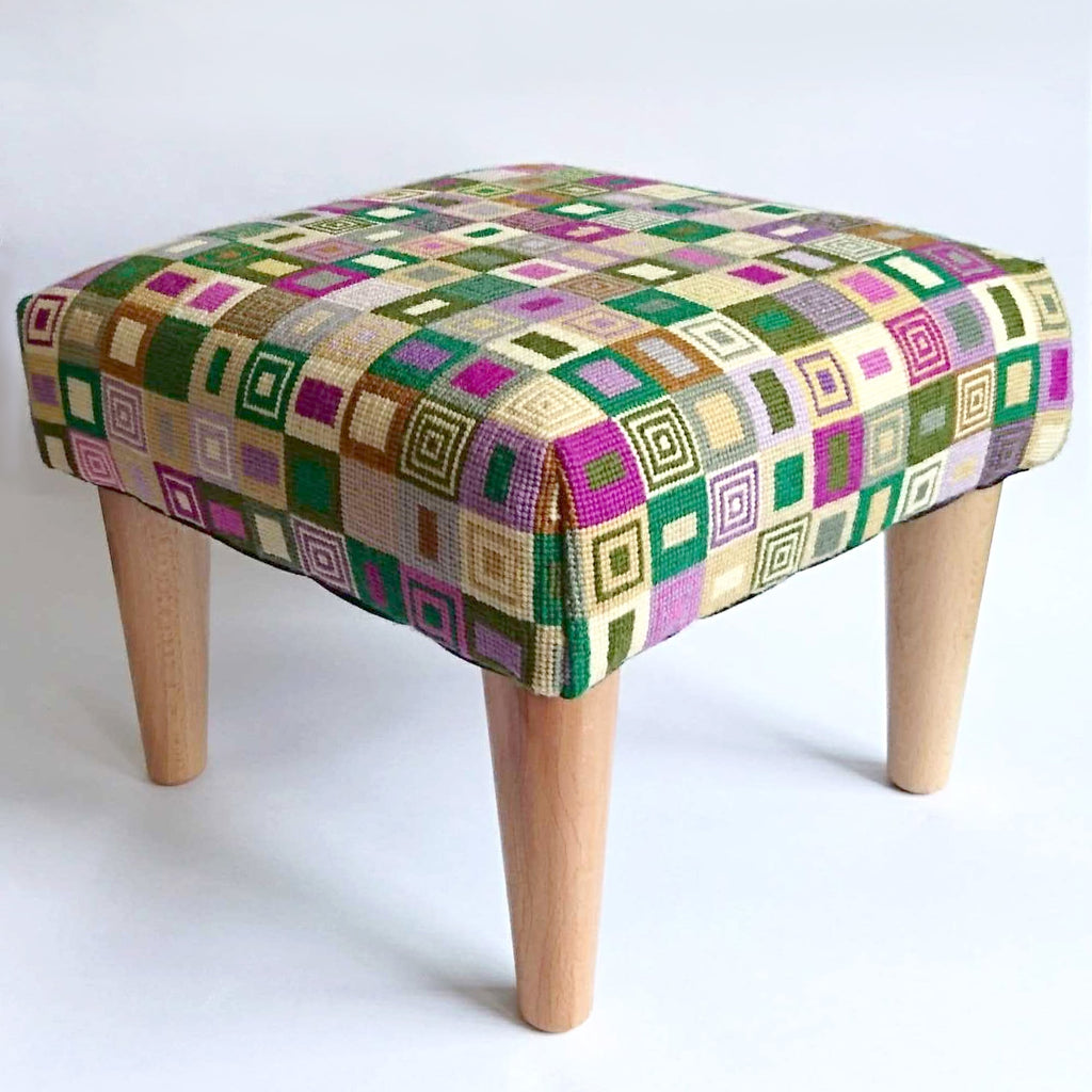 Geometric Footstool Purple and Green