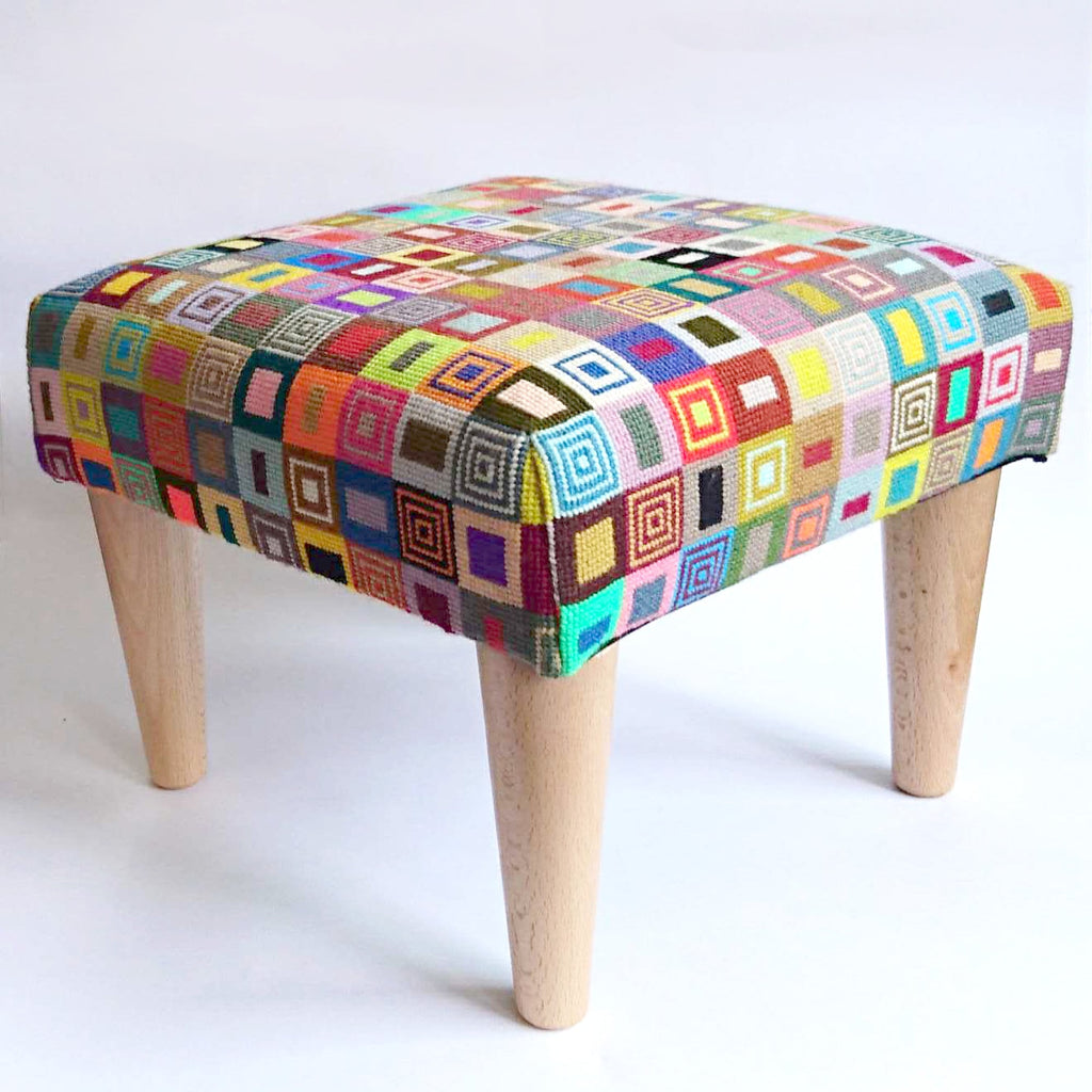 Geometric Footstool Blue and Red