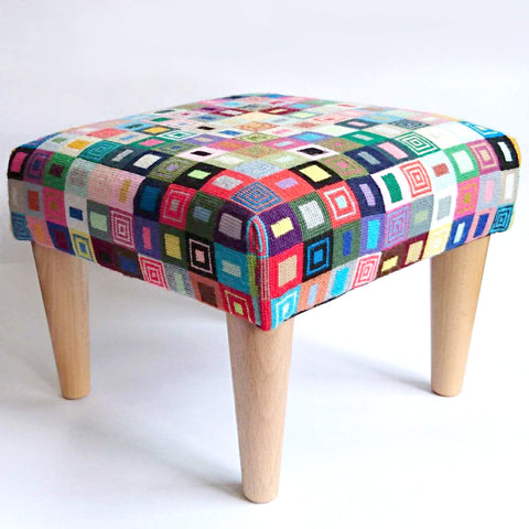 Geometric Footstool Red and Purple