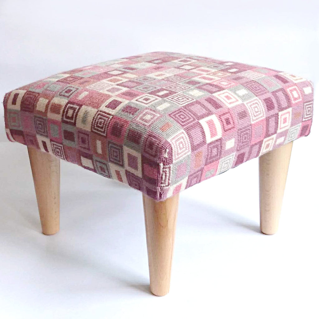Geometric Footstool Pink and Cream