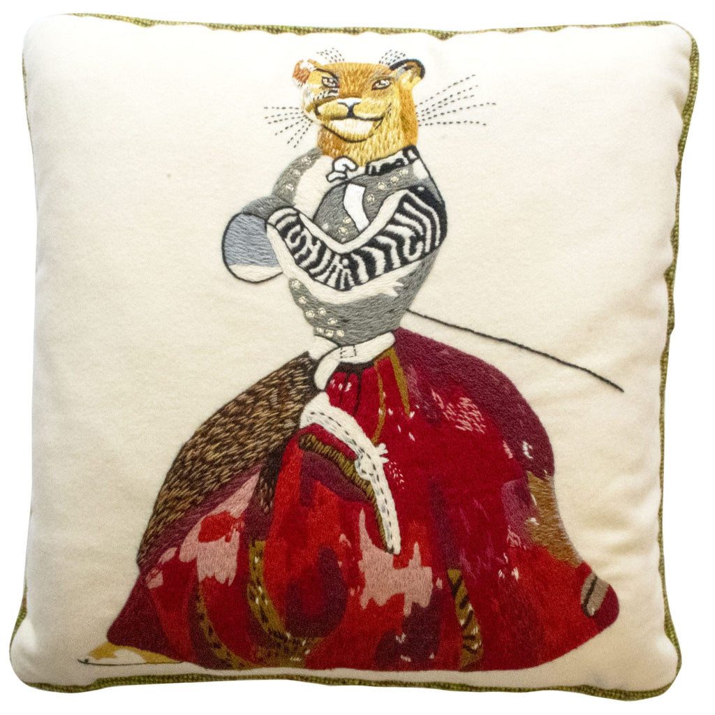 Animaux Hand-Embroidered Lioness Wool Cream Red Cushion Fine Cell Work Handmade in Prison