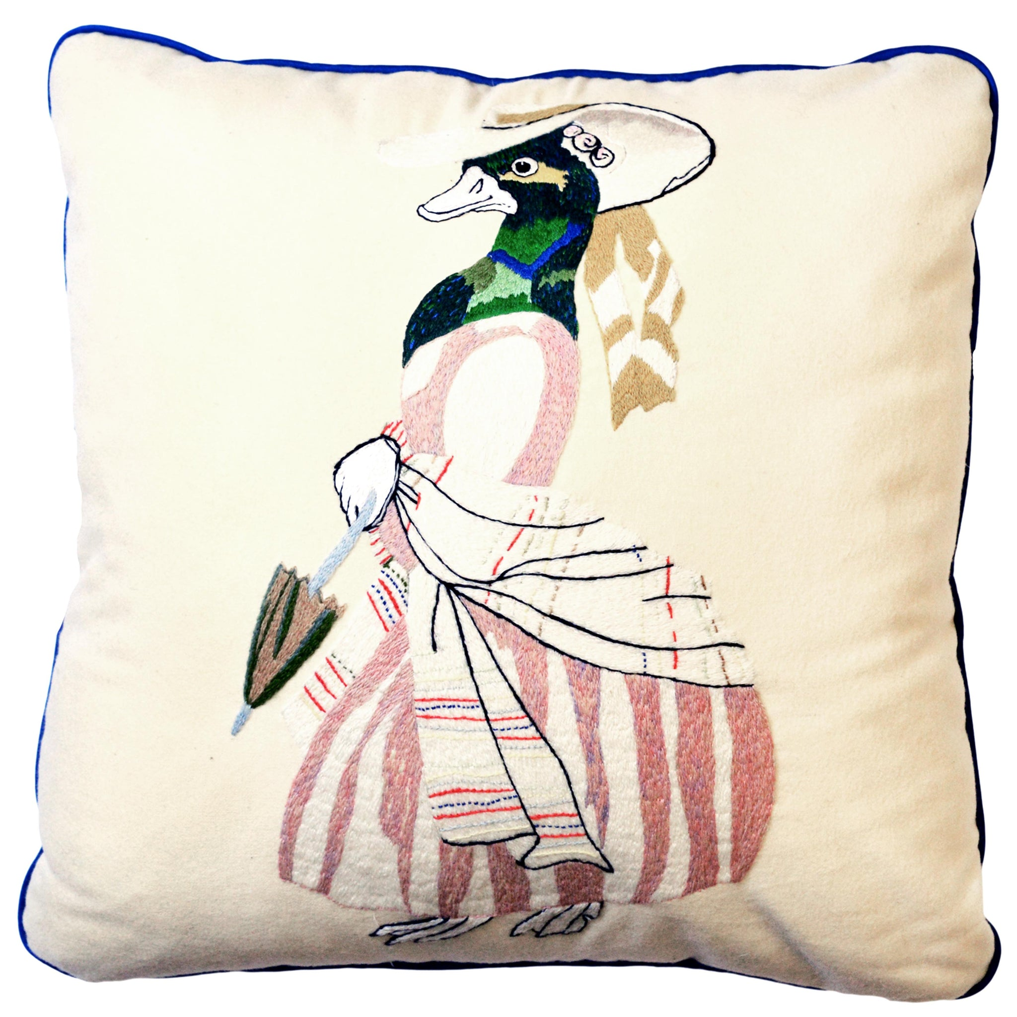 Animaux Hand-Embroidered Duck Wool Cream Green Pink Cushion Fine Cell Work Handmade in Prison