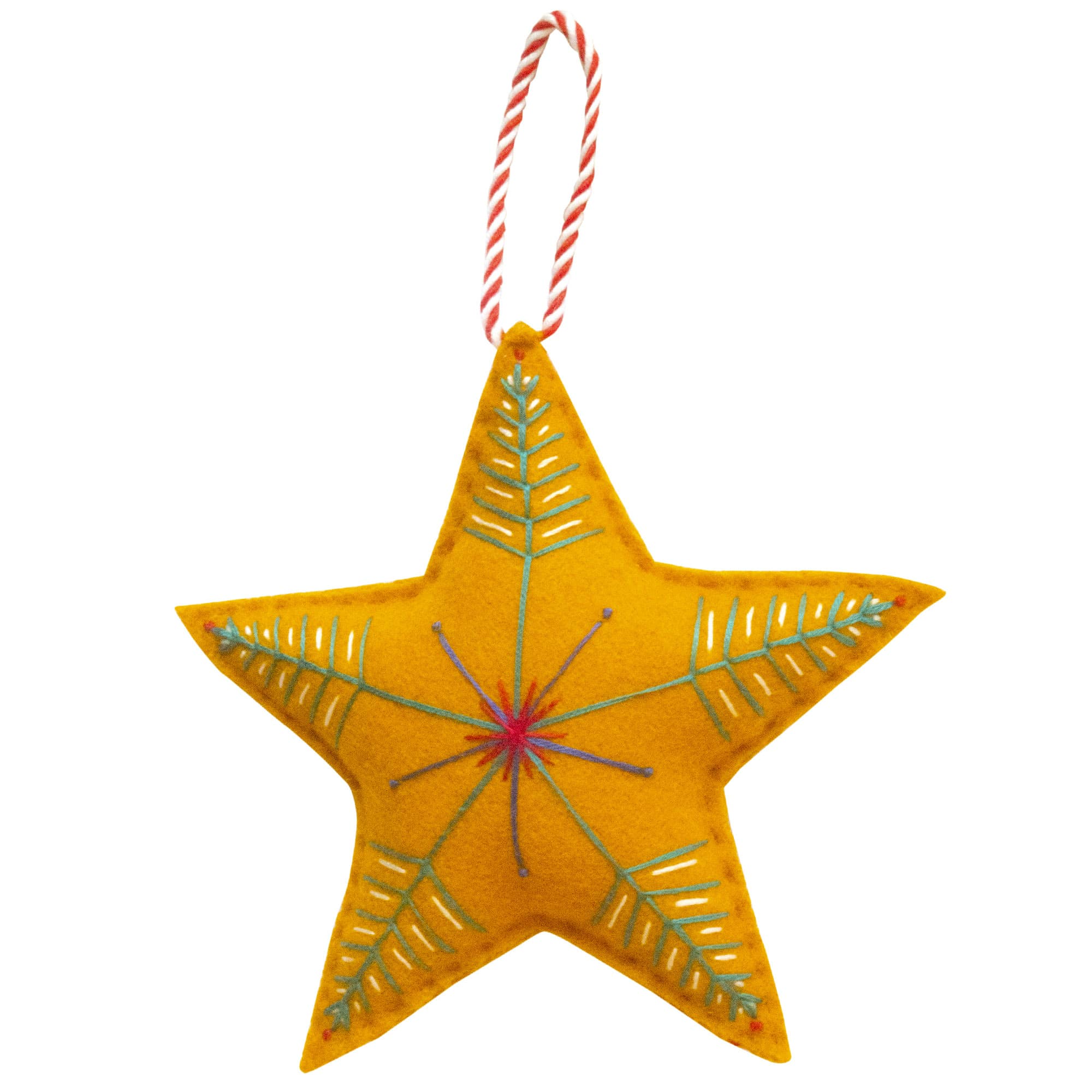 Fine Cell Work Handmade Christmas Star Yellow Gold Felt Embroidered