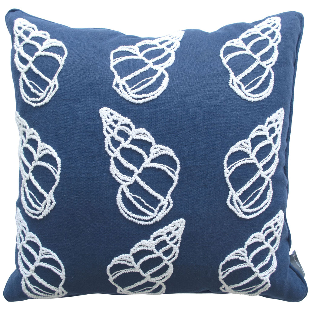 Melissa Wyndham Shell Cones Embroidered Cushion Navy