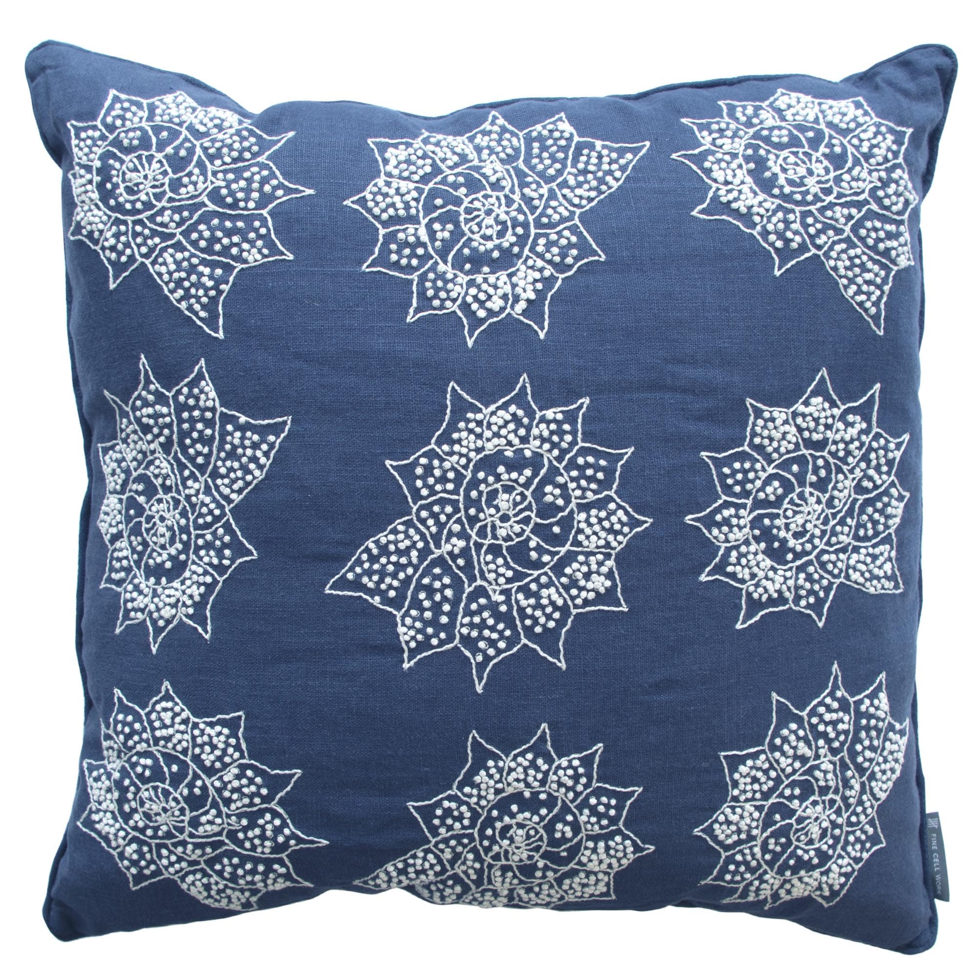Melissa Wyndham Shell Stars Embroidered Cushion Navy Blue