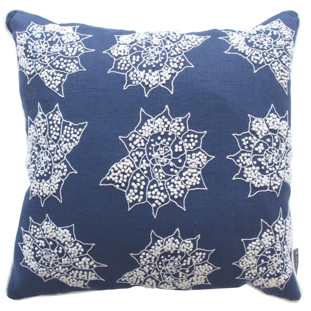 Melissa Wyndham Shell Stars Embroidered Cushion Navy Blue and White