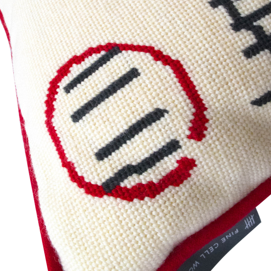Prison Calendar Wool Needlepoint Cushion AA Gill Handmade in Prison Red Cream Black