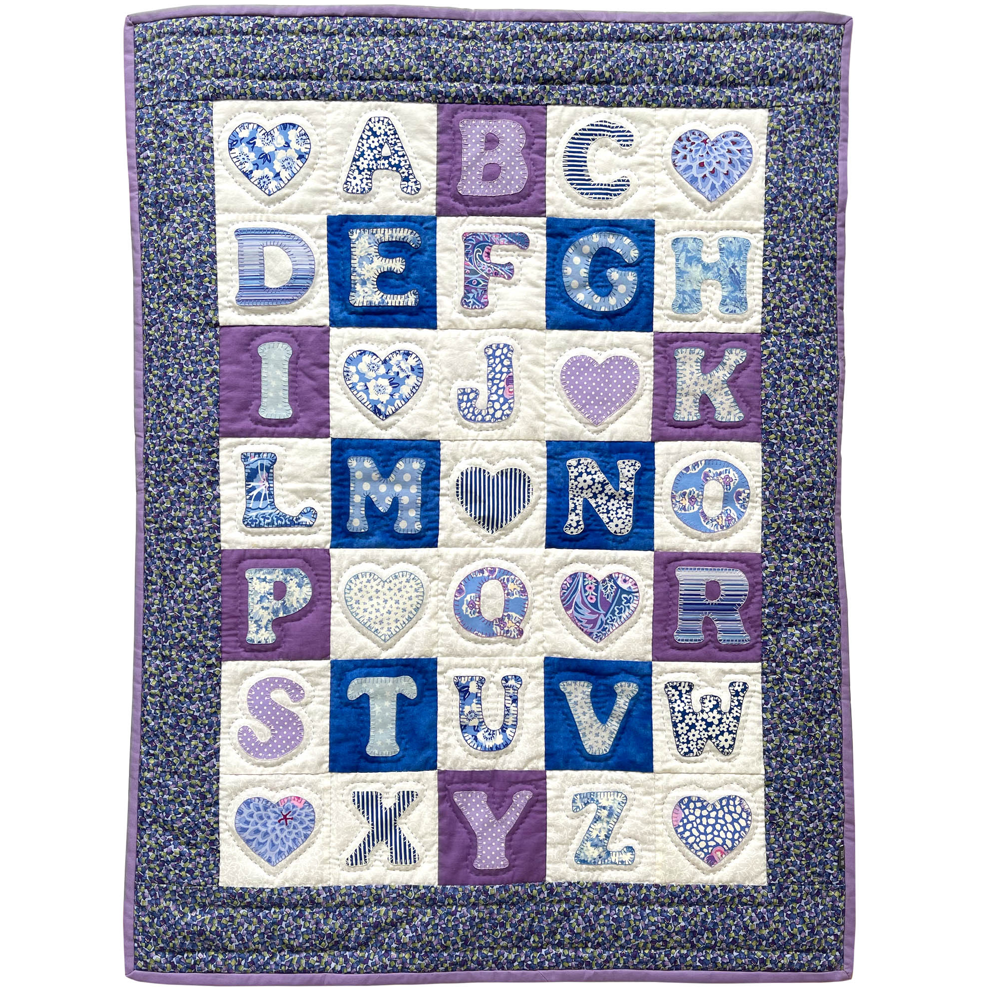 Children's Handmade Quilt Alphabet Blue and Purple Floral