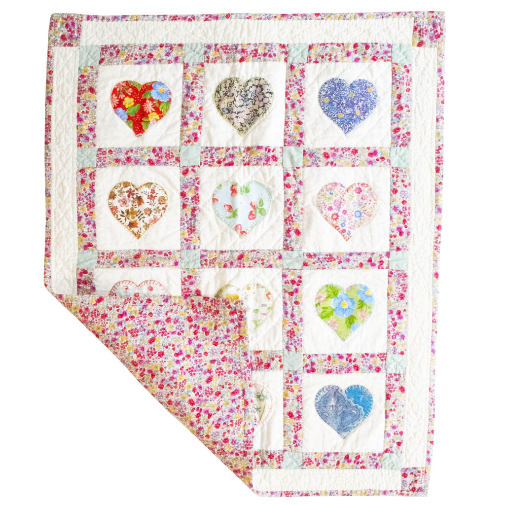Fine Cell Work Childrens Handmade Quilt Pink Floral Hearts Unique Birth Christening Christmas Present Gift