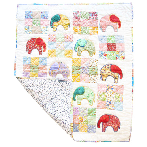Fine Cell Work Childrens Handmade Quilt Enchanting Elephants Multi-colour Unique Birth Christening Christmas Present Gift