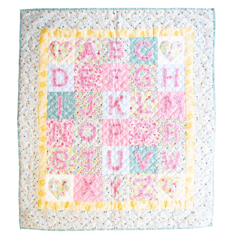 Children's Handmade Quilt Alphabet Pink and Blue Floral