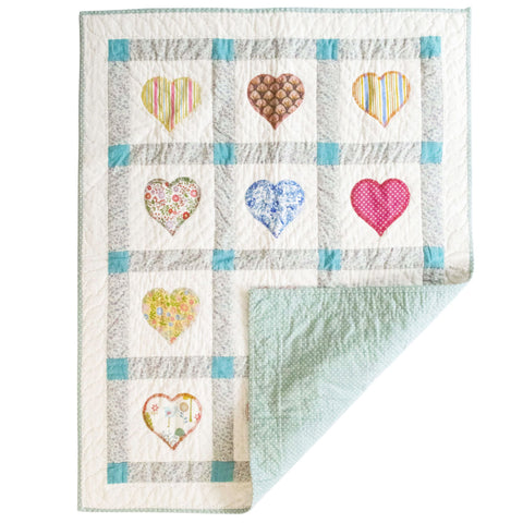 Children's Handmade Quilt Blue Polka Dot Hearts