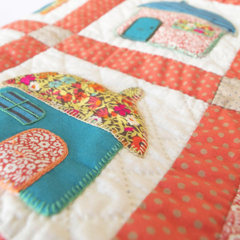 Fine Cell Work Childrens Handmade Quilt Happy Houses Red Blue Teal Multi-colour Unique Birth Christening Christmas Present Gift