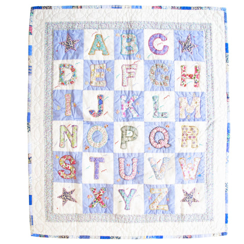 Children's Handmade Quilt Alphabet Nautical Blue