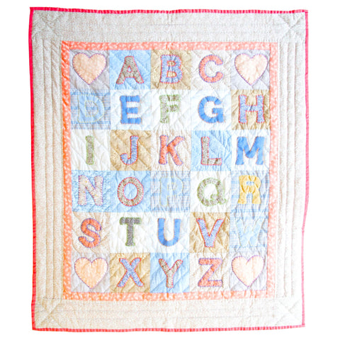 Children's Handmade Quilt Alphabet Red and Blue Floral