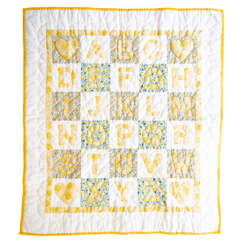 Fine Cell Work Childrens Handmade Quilt Alphabet Green Yellow White Floral Unique Birth Christening Christmas Present Gift