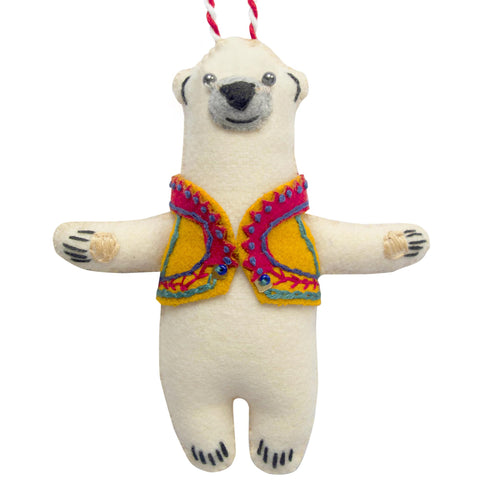 Handmade Christmas Decoration Matti the Polar Bear Yellow