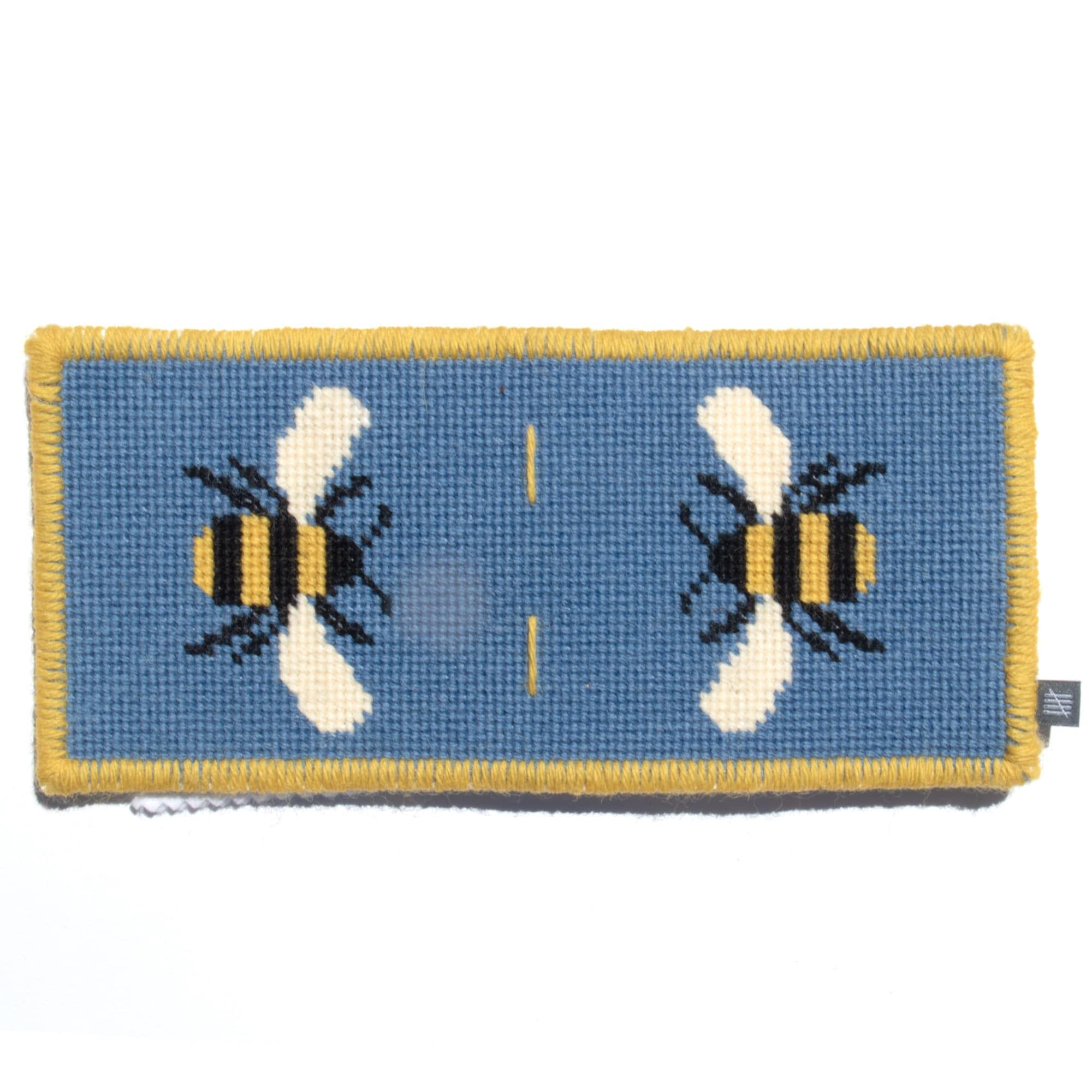 Fine Cell Work Needle Case Bee Design Blue Handmade Wool Needlepoint