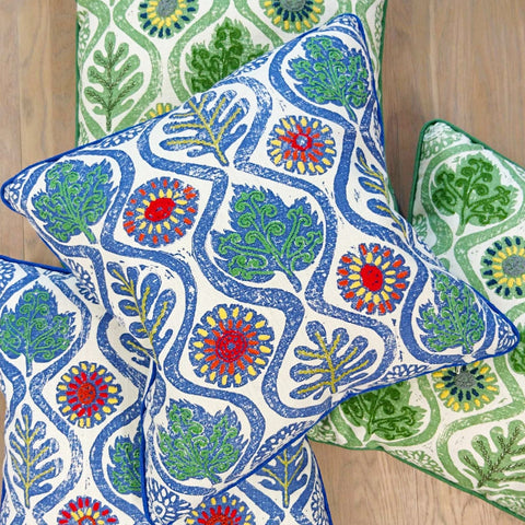 Fine Cell Work Hand-Embroidered Blithfield Kit Kemp Peggy Angus Oakleaves Irish Linen Cushion Blue Green Handmade in Prison